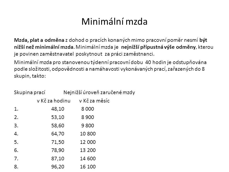 Minimální mzda Mzda, plat a odměna z dohod o pracích konaných mimo pracovní poměr nesmí být nižší než minimální mzda.