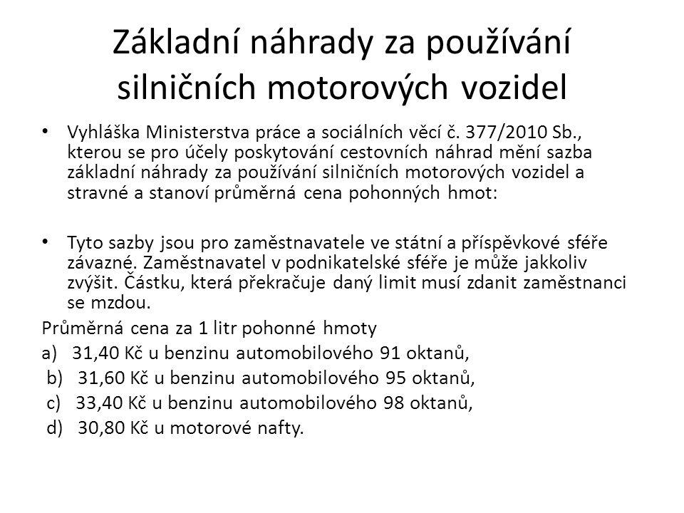 Základní náhrady za používání silničních motorových vozidel Vyhláška Ministerstva práce a sociálních věcí č.