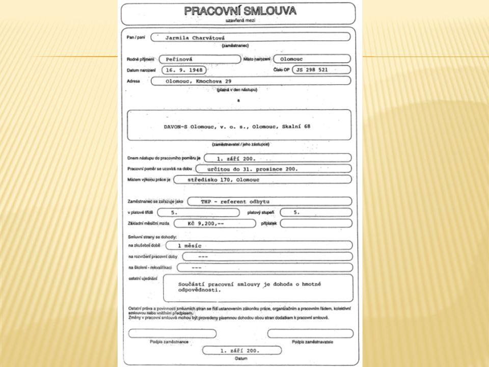  formulář, ve kterém je zapsána konkrétní odměna za sjednanou práci