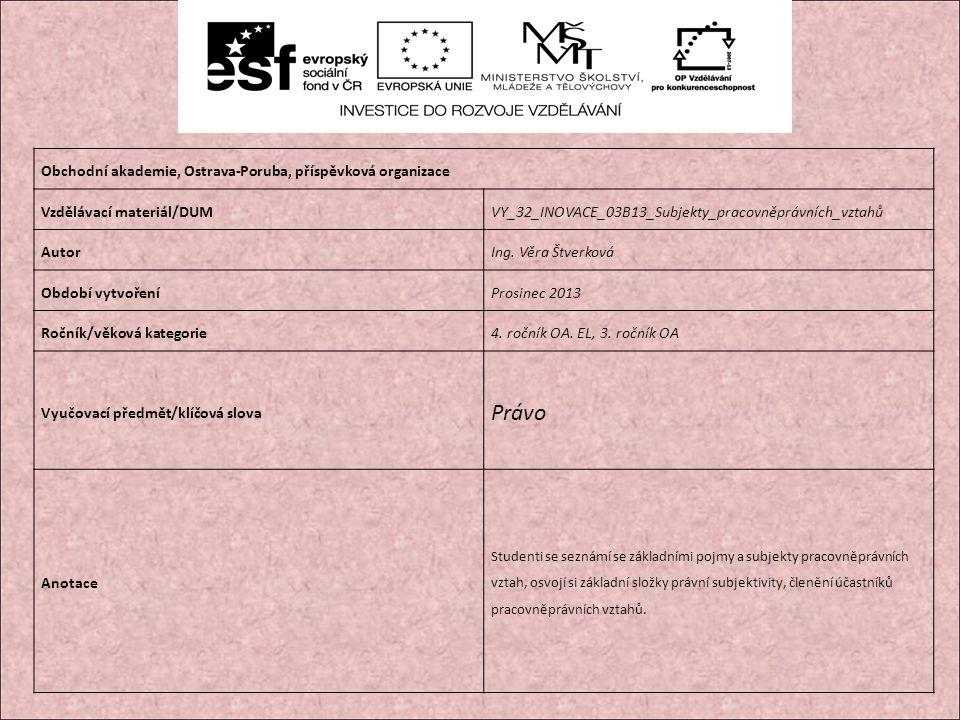 Obchodní akademie, Ostrava-Poruba, příspěvková organizace Vzdělávací materiál/DUMVY_32_INOVACE_03B13_Subjekty_pracovněprávních_vztahů AutorIng.