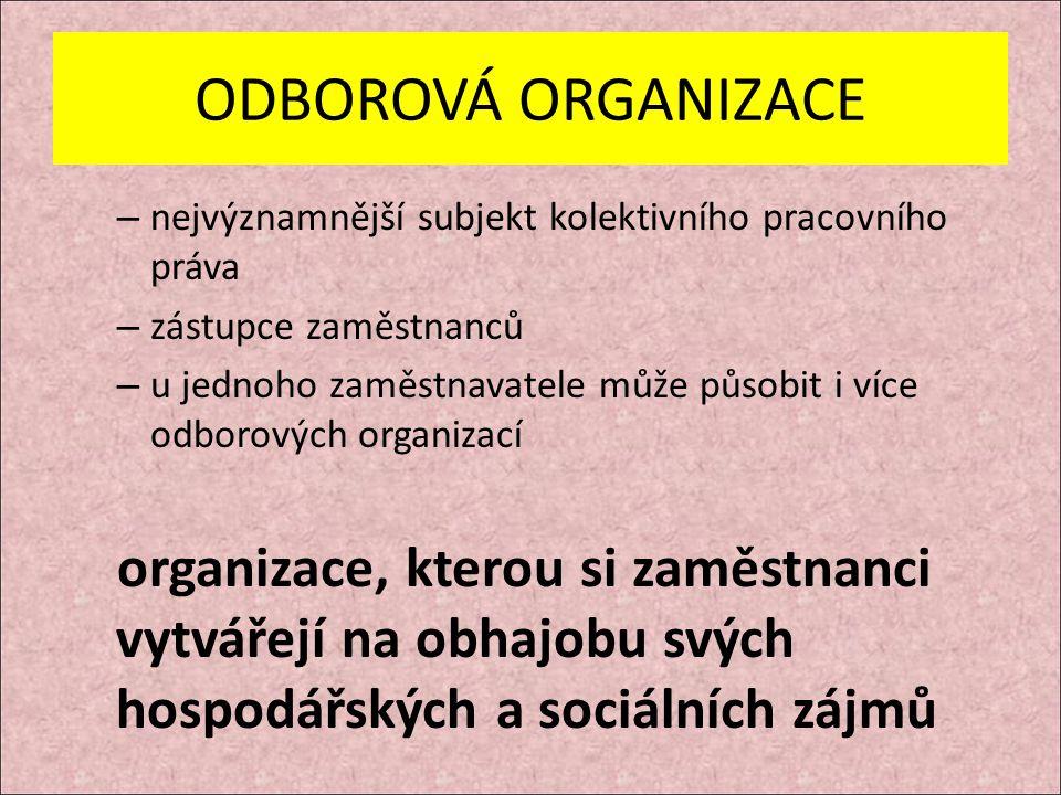 ODBOROVÁ ORGANIZACE – nejvýznamnější subjekt kolektivního pracovního práva – zástupce zaměstnanců – u jednoho zaměstnavatele může působit i více odborových organizací organizace, kterou si zaměstnanci vytvářejí na obhajobu svých hospodářských a sociálních zájmů