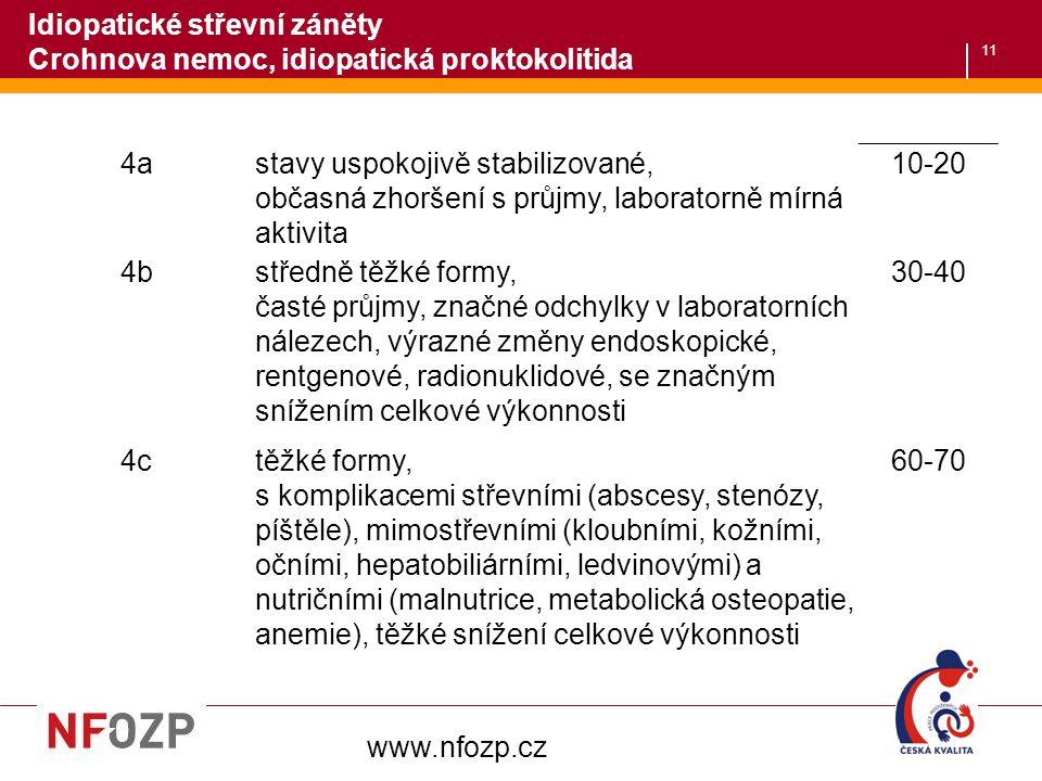 11 www.nfozp.cz 4astavy uspokojivě stabilizované, občasná zhoršení s průjmy, laboratorně mírná aktivita 10-20 4bstředně těžké formy, časté průjmy, zna