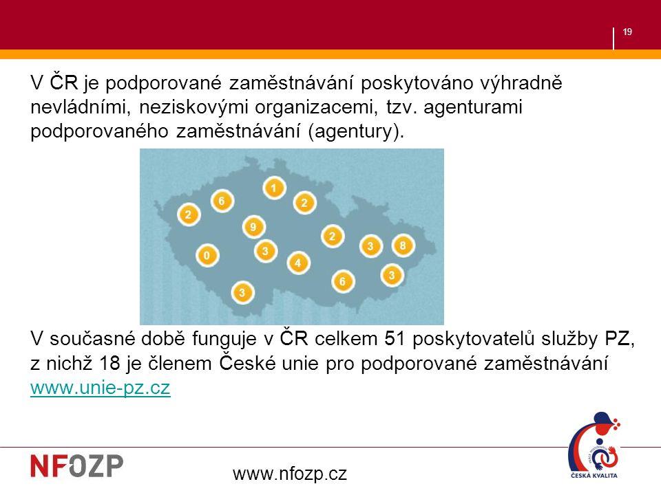 19 V ČR je podporované zaměstnávání poskytováno výhradně nevládními, neziskovými organizacemi, tzv. agenturami podporovaného zaměstnávání (agentury).