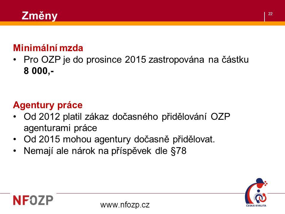 22 Změny www.nfozp.cz Minimální mzda Pro OZP je do prosince 2015 zastropována na částku 8 000,- Agentury práce Od 2012 platil zákaz dočasného přidělov