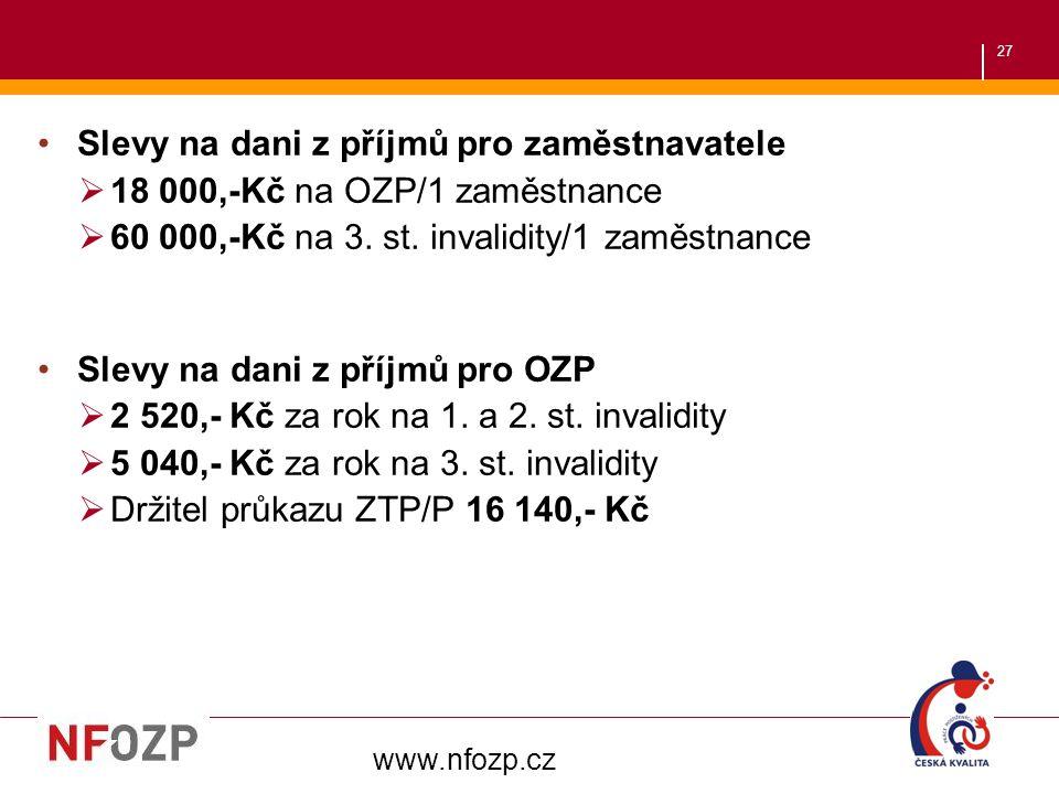27 Slevy na dani z příjmů pro zaměstnavatele  18 000,-Kč na OZP/1 zaměstnance  60 000,-Kč na 3. st. invalidity/1 zaměstnance Slevy na dani z příjmů