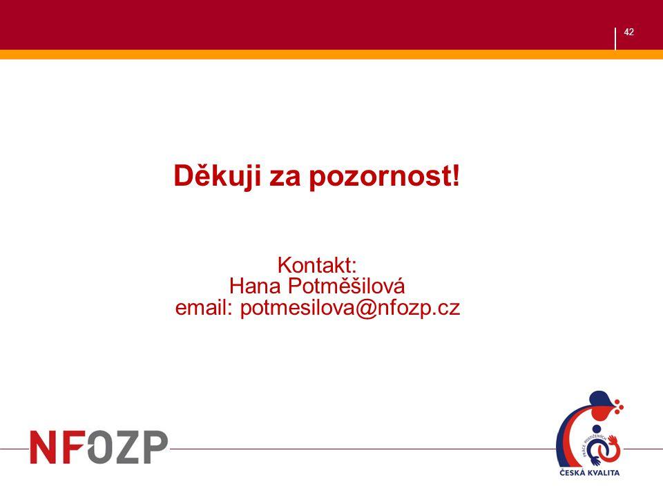 42 Děkuji za pozornost! Kontakt: Hana Potměšilová email: potmesilova@nfozp.cz