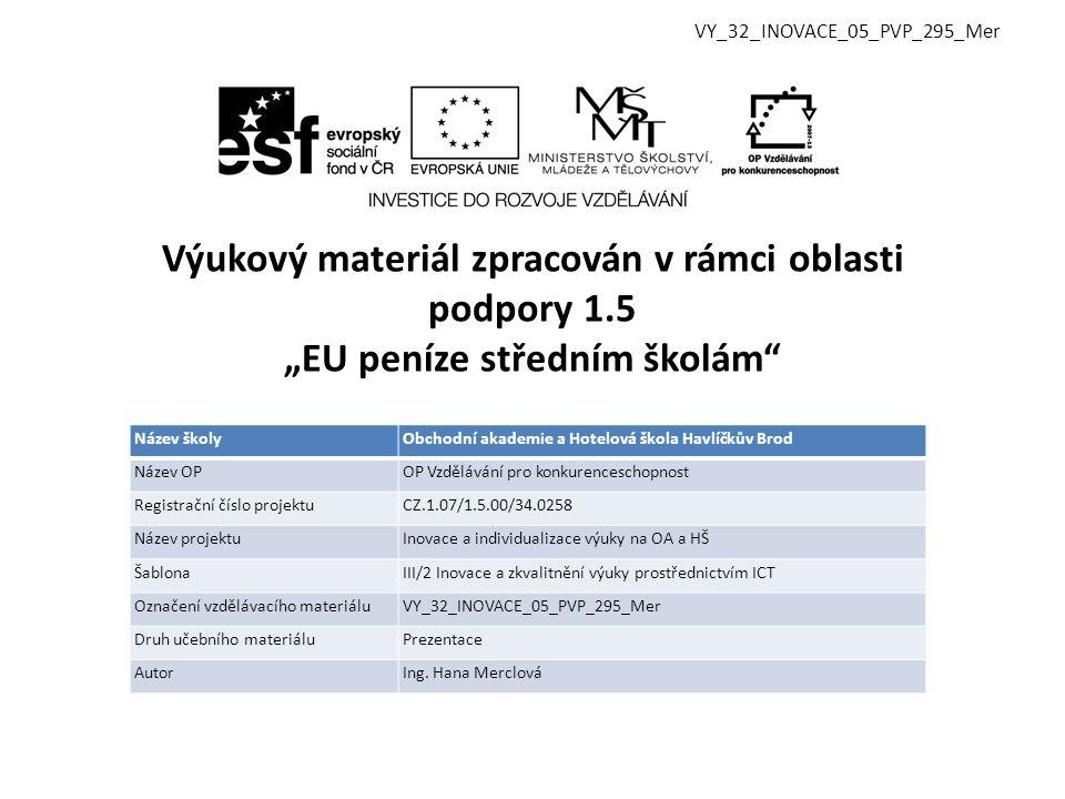 Vzdělávací obor, pro který je materiál určen Obchodní akademie, Hotelnictví Předmět ZPV Ročník 1.
