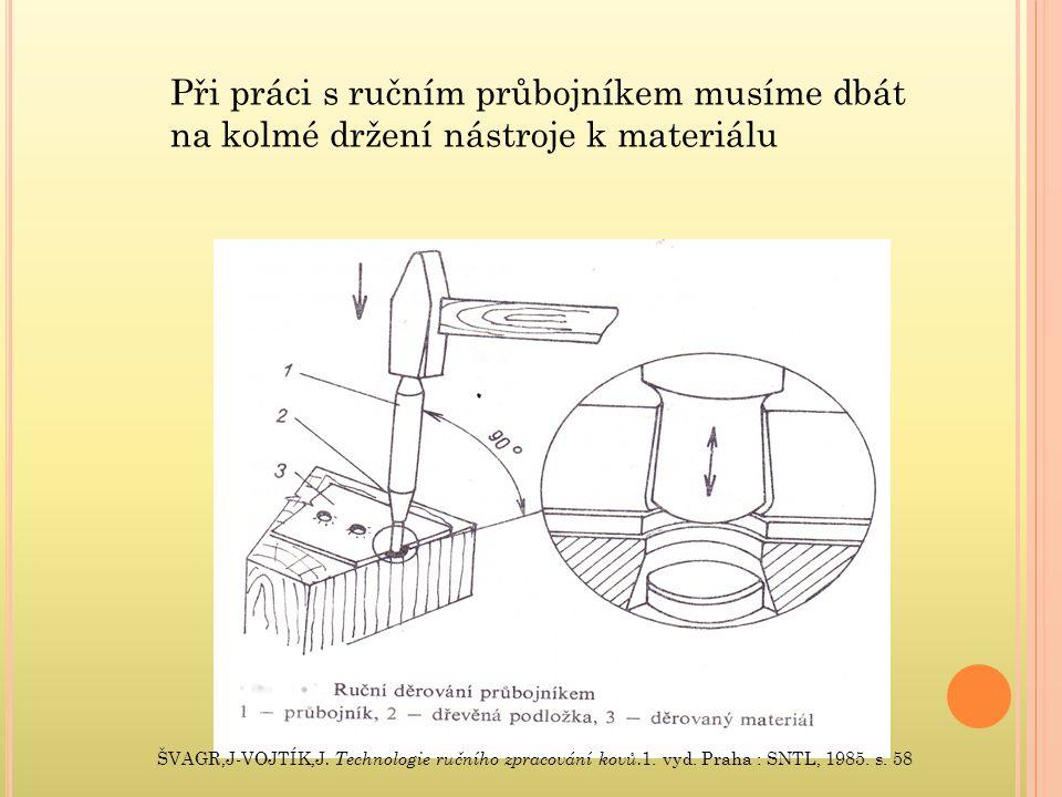 Strojně – páková děrovačka – tvrdší materiály, ulehčení práce, ruční ovládání.