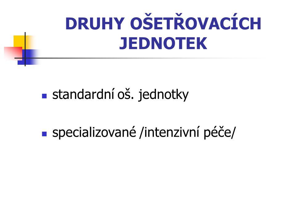 DRUHY OŠETŘOVACÍCH JEDNOTEK standardní oš. jednotky specializované /intenzivní péče/