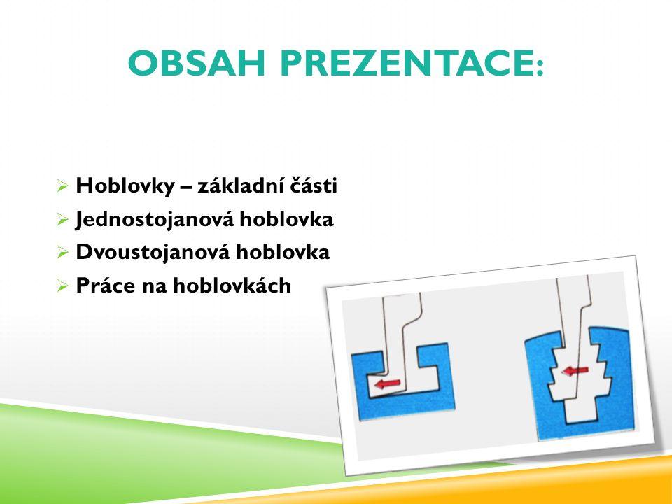 OBSAH PREZENTACE :  Hoblovky – základní části  Jednostojanová hoblovka  Dvoustojanová hoblovka  Práce na hoblovkách