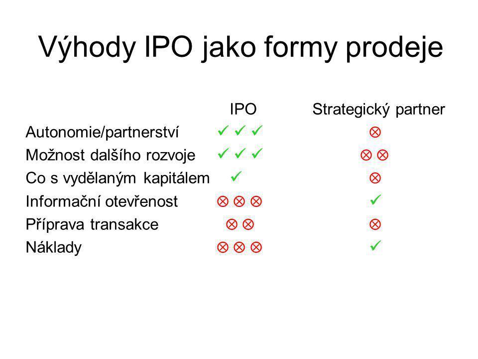 Výhody IPO jako formy prodeje IPOStrategický partner Autonomie/partnerství  Možnost dalšího rozvoje   Co s vydělaným kapitálem  Informační otevřenost    Příprava transakce    Náklady   