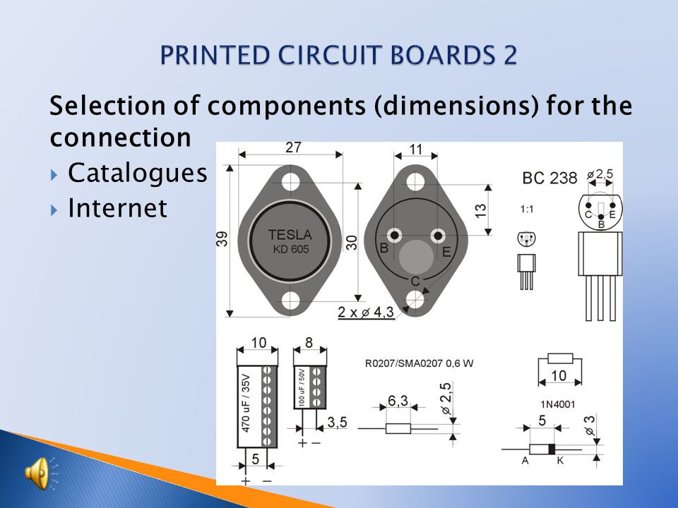Preparation of cuprextite boards  - select the size and shearing of cuprextite boards  - filing, chamfering  - drill holes for mounting  - definition of space for components