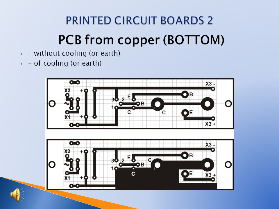 PCB from copper (BOTTOM)  - without cooling (or earth)  - of cooling (or earth)