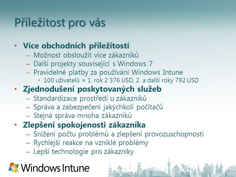 Příležitost pro vás Více obchodních příležitostí – Možnost obsloužit více zákazníků – Další projekty související s Windows 7 – Pravidelné platby za používání Windows Intune 100 uživatelů = 1.