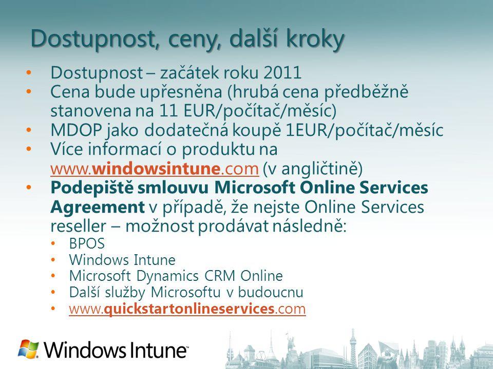 Dostupnost – začátek roku 2011 Cena bude upřesněna (hrubá cena předběžně stanovena na 11 EUR/počítač/měsíc) MDOP jako dodatečná koupě 1EUR/počítač/měsíc Více informací o produktu na www.windowsintune.com (v angličtině) www.windowsintune.com Podepiště smlouvu Microsoft Online Services Agreement v případě, že nejste Online Services reseller – možnost prodávat následně: BPOS Windows Intune Microsoft Dynamics CRM Online Další služby Microsoftu v budoucnu www.quickstartonlineservices.com www.quickstartonlineservices.com Dostupnost, ceny, další kroky