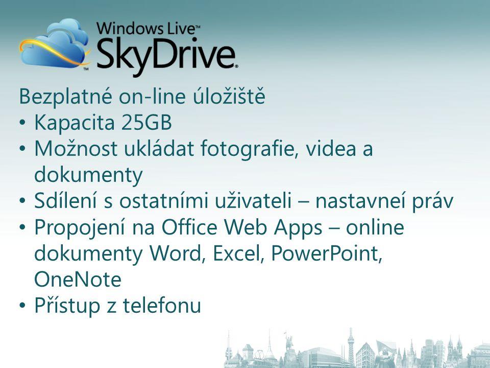 Bezplatné on-line úložiště Kapacita 25GB Možnost ukládat fotografie, videa a dokumenty Sdílení s ostatními uživateli – nastavneí práv Propojení na Office Web Apps – online dokumenty Word, Excel, PowerPoint, OneNote Přístup z telefonu