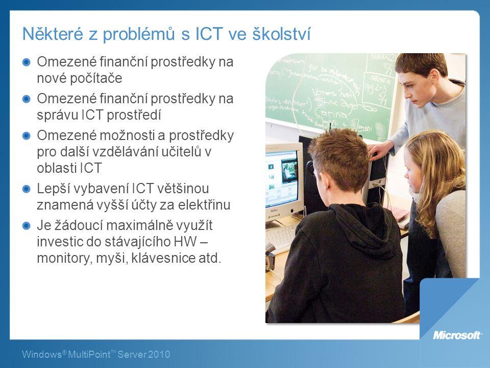 Některé z problémů s ICT ve školství Omezené finanční prostředky na nové počítače Omezené finanční prostředky na správu ICT prostředí Omezené možnosti a prostředky pro další vzdělávání učitelů v oblasti ICT Lepší vybavení ICT většinou znamená vyšší účty za elektřinu Je žádoucí maximálně využít investic do stávajícího HW – monitory, myši, klávesnice atd.