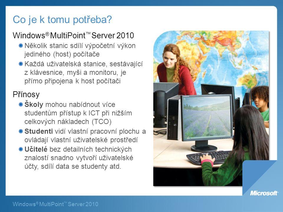Windows ® MultiPoint ™ Server 2010 Co je k tomu potřeba.