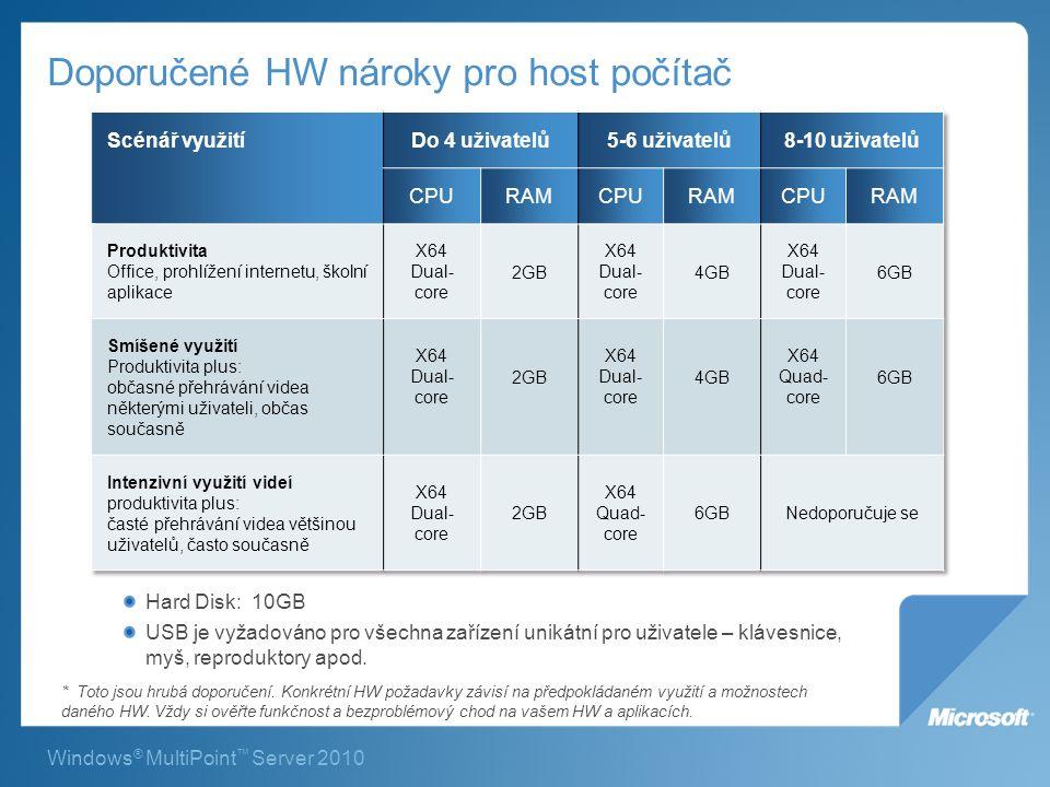 Windows ® MultiPoint ™ Server 2010 Doporučené HW nároky pro host počítač Hard Disk: 10GB USB je vyžadováno pro všechna zařízení unikátní pro uživatele – klávesnice, myš, reproduktory apod.