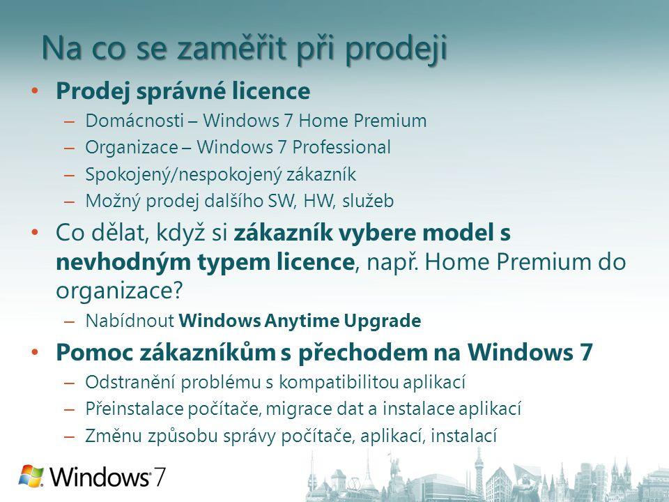 Na co se zaměřit při prodeji Prodej správné licence – Domácnosti – Windows 7 Home Premium – Organizace – Windows 7 Professional – Spokojený/nespokojený zákazník – Možný prodej dalšího SW, HW, služeb Co dělat, když si zákazník vybere model s nevhodným typem licence, např.
