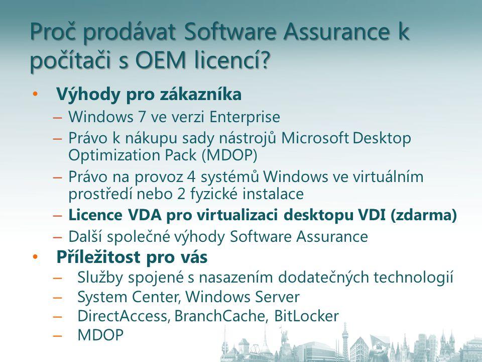 Proč prodávat Software Assurance k počítači s OEM licencí.