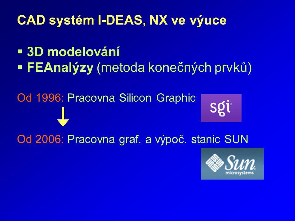 CAD systém I-DEAS, NX ve výuce  3D modelování  FEAnalýzy (metoda konečných prvků) Od 1996: Pracovna Silicon Graphic Od 2006: Pracovna graf. a výpoč.