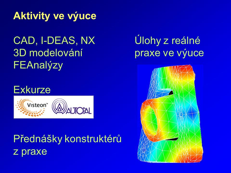 Aktivity ve výuce CAD, I-DEAS, NX Úlohy z reálné 3D modelování praxe ve výuce FEAnalýzy Exkurze Přednášky konstruktérů z praxe