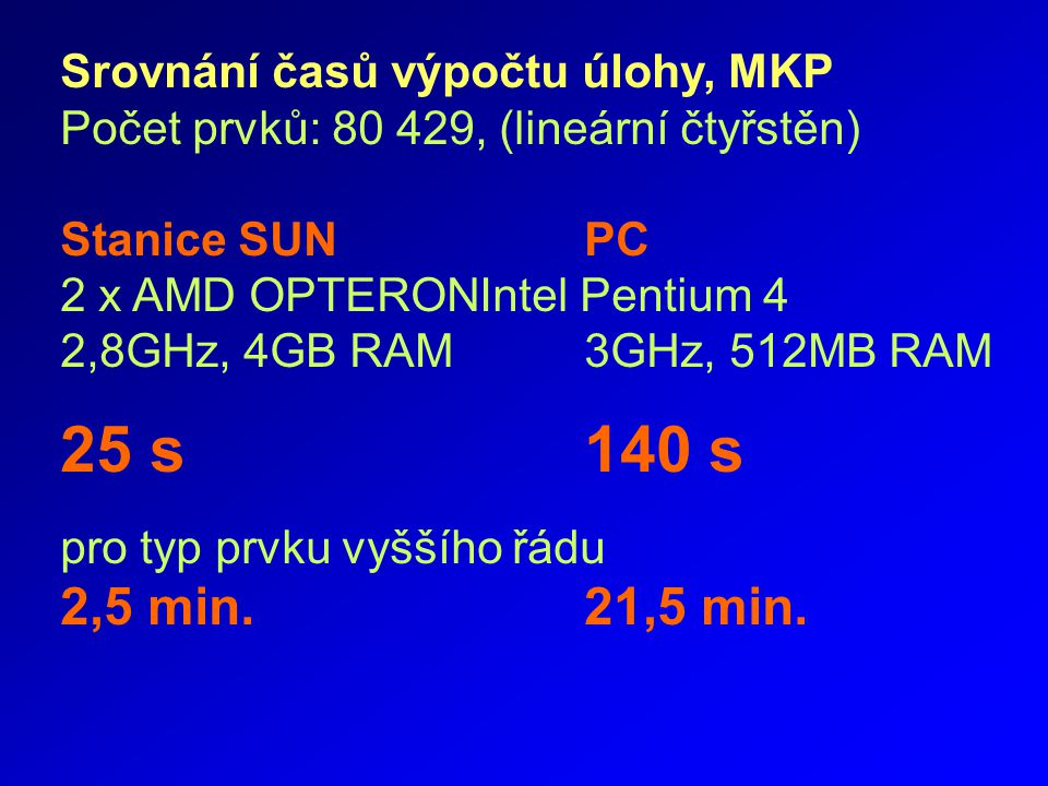 Srovnání časů výpočtu úlohy, MKP Počet prvků: 80 429, (lineární čtyřstěn) Stanice SUNPC 2 x AMD OPTERONIntel Pentium 4 2,8GHz, 4GB RAM3GHz, 512MB RAM