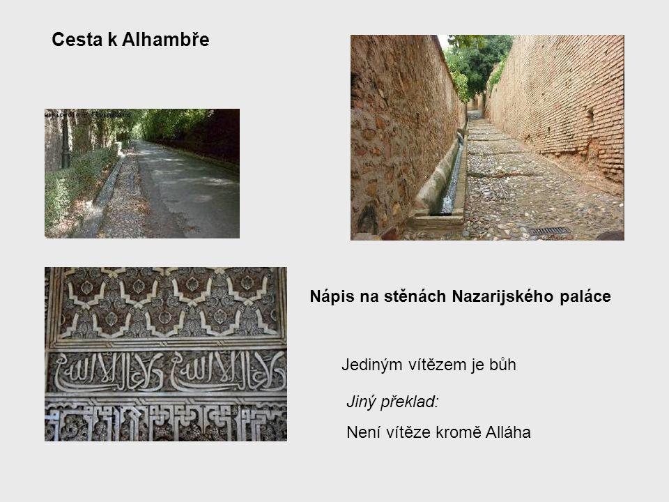 Na pahorku Alhambry jsou celkem tři skupiny budov: Palacios Nazaríes (Královský palác nebo také Nasrovský palác), Palacios Nazaríes (Královský palác nebo také Nasrovský palác), palácové zahrady Generalife a palácové zahrady Generalife a pevnost Alcazaba pevnost Alcazaba