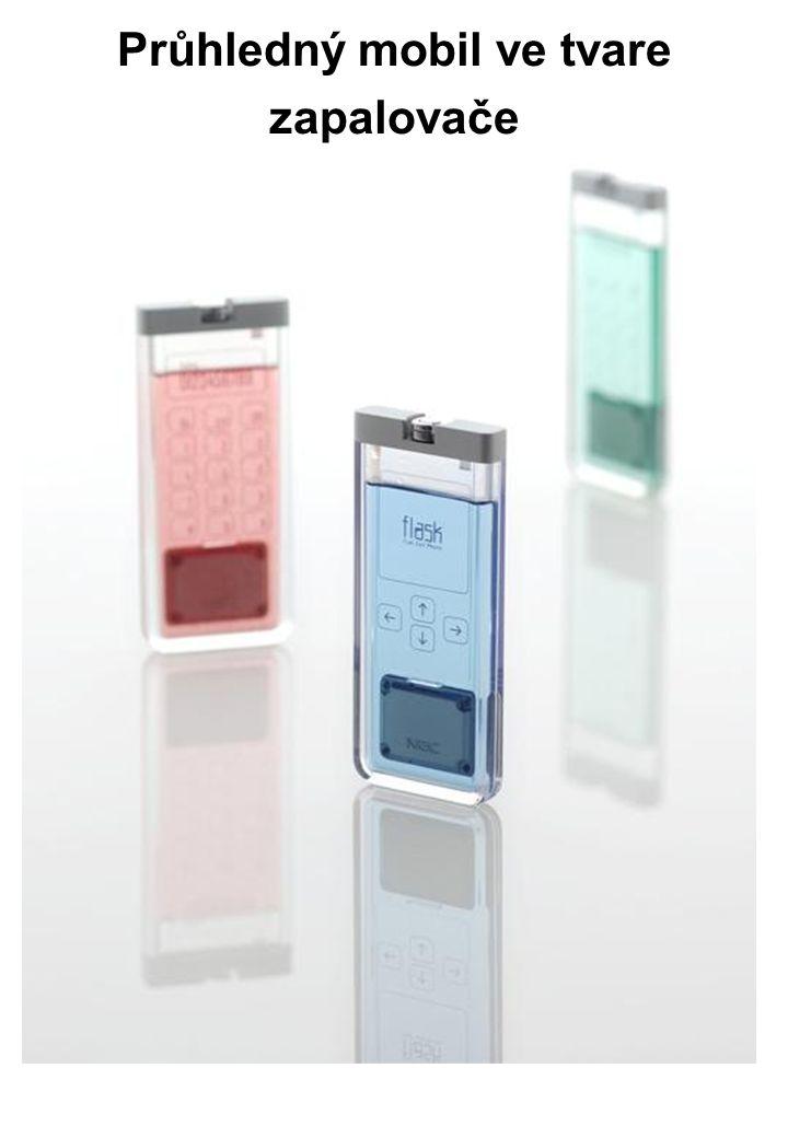 Průhledný mobil ve tvare zapalovače