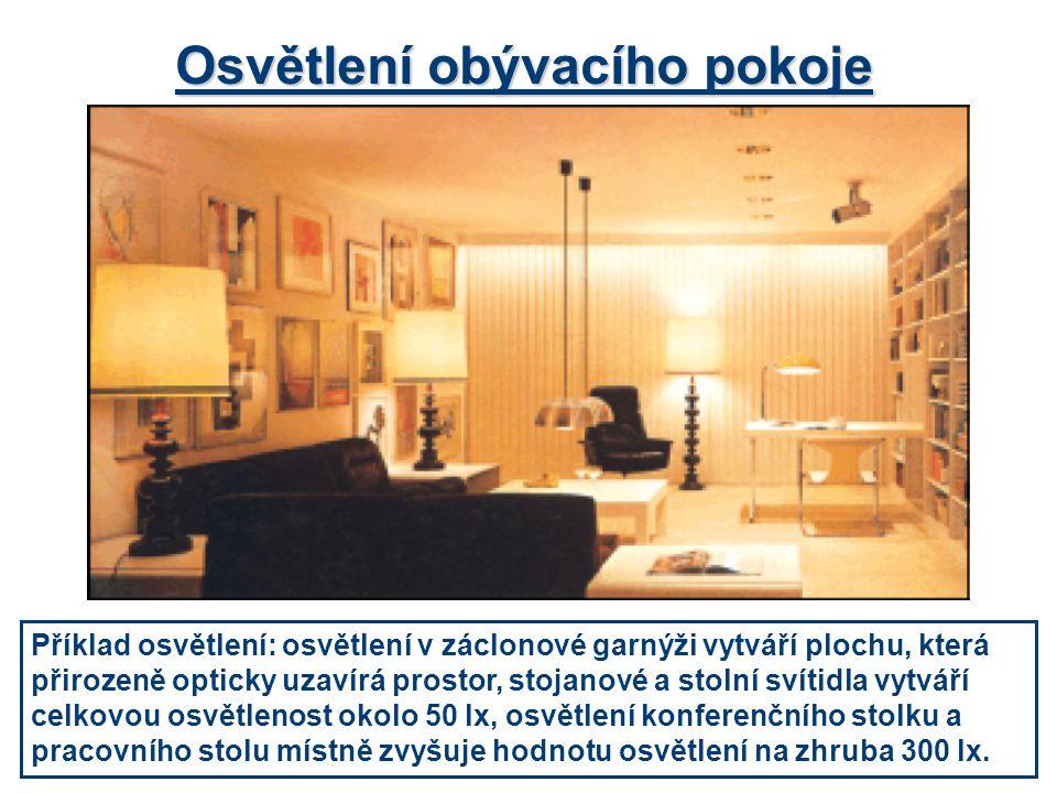 Osvětlení obývacího pokoje Příklad osvětlení: osvětlení v záclonové garnýži vytváří plochu, která přirozeně opticky uzavírá prostor, stojanové a stoln
