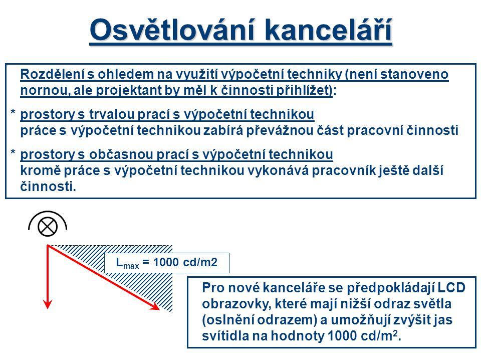 Osvětlování kanceláří Rozdělení s ohledem na využití výpočetní techniky (není stanoveno nornou, ale projektant by měl k činnosti přihlížet): *prostory