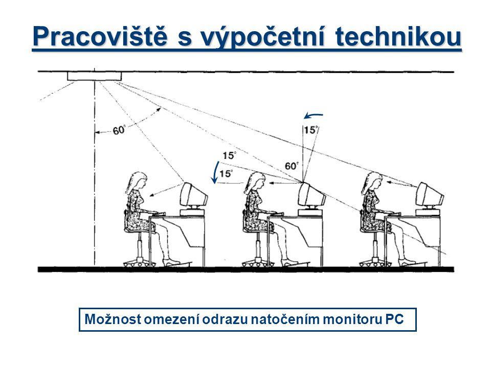Pracoviště s výpočetní technikou Možnost omezení odrazu natočením monitoru PC