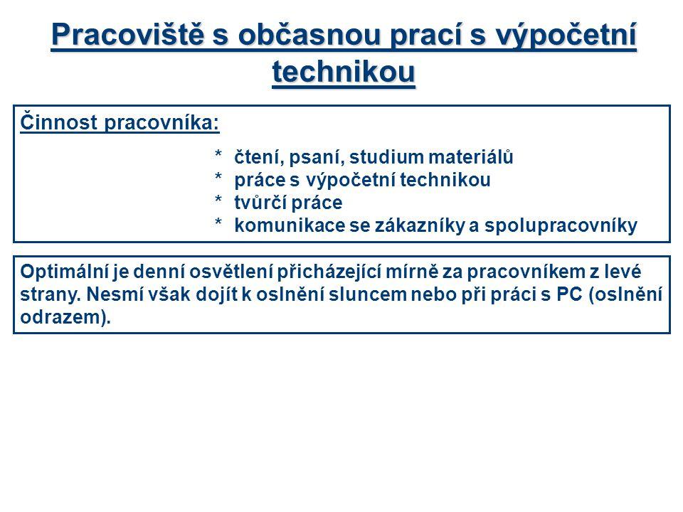 Možnost řešení individuálního pracoviště s občasnou prací na PC Prostor pro psaní, čtení a soustředěnou činnost E = 500 lx Prostor pro práci s PC E = 500 lx Prostor pro komunikaci E = 200 – 300 lx (200 lx je minimální hodnota)