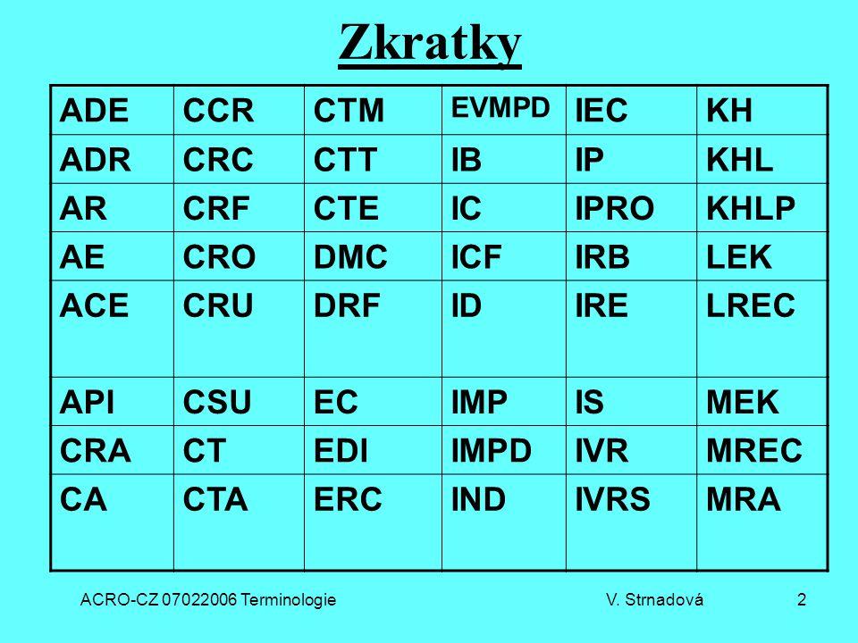 ACRO-CZ 07022006 Terminologie V. Strnadová 2 Zkratky ADECCRCTM EVMPD IECKH ADRCRCCTTIBIPKHL ARCRFCTEICIPROKHLP AECRODMCICFIRBLEK ACECRUDRFIDIRELREC AP