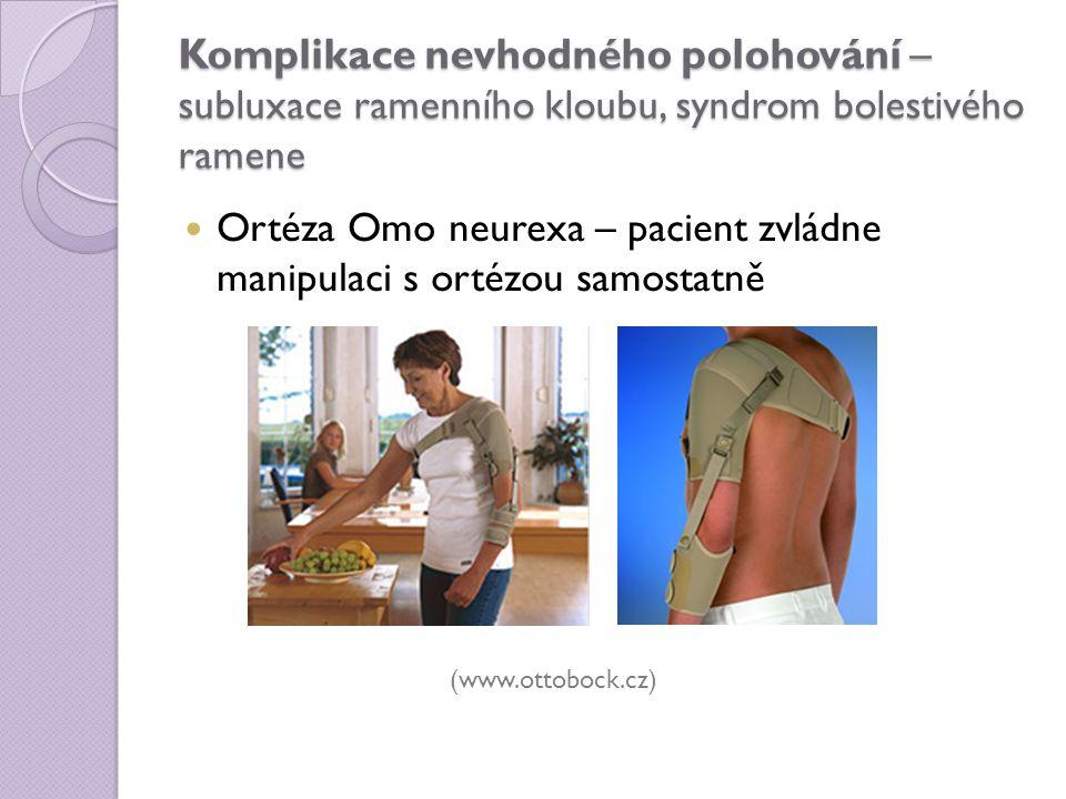 Komplikace nevhodného polohování – subluxace ramenního kloubu, syndrom bolestivého ramene Ortéza Omo neurexa – pacient zvládne manipulaci s ortézou sa