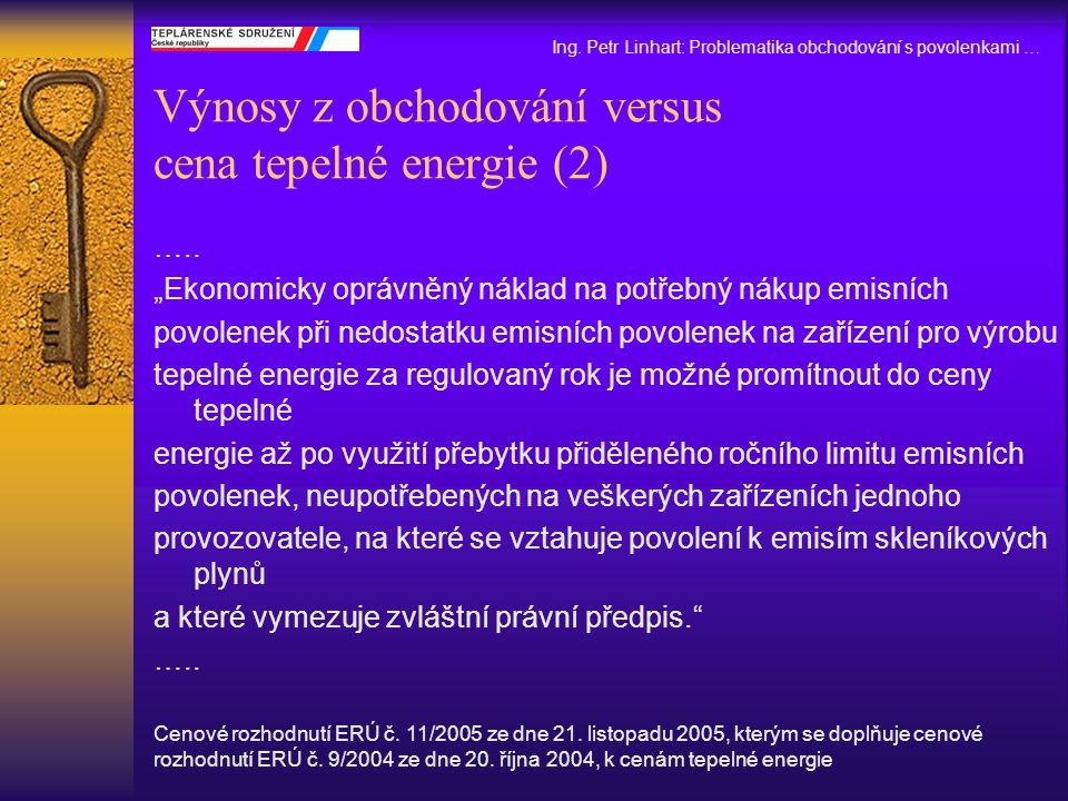 """Výnosy z obchodování versus cena tepelné energie (2) ….. """"Ekonomicky oprávněný náklad na potřebný nákup emisních povolenek při nedostatku emisních pov"""