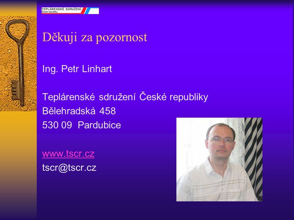 Děkuji za pozornost Ing. Petr Linhart Teplárenské sdružení České republiky Bělehradská 458 530 09 Pardubice www.tscr.cz tscr@tscr.cz