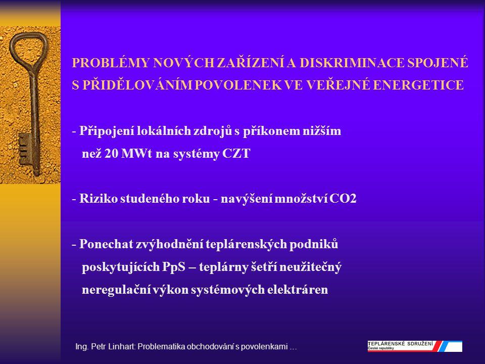 PROBLEMATIKA OBCHODOVÁNÍ S POVOLENKAMI - Verifikace - Cena povolenek - Převod povolenek mezi NAP I.