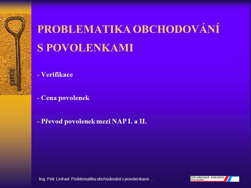 PROBLEMATIKA OBCHODOVÁNÍ S POVOLENKAMI - Verifikace - Cena povolenek - Převod povolenek mezi NAP I. a II. Ing. Petr Linhart: Problematika obchodování