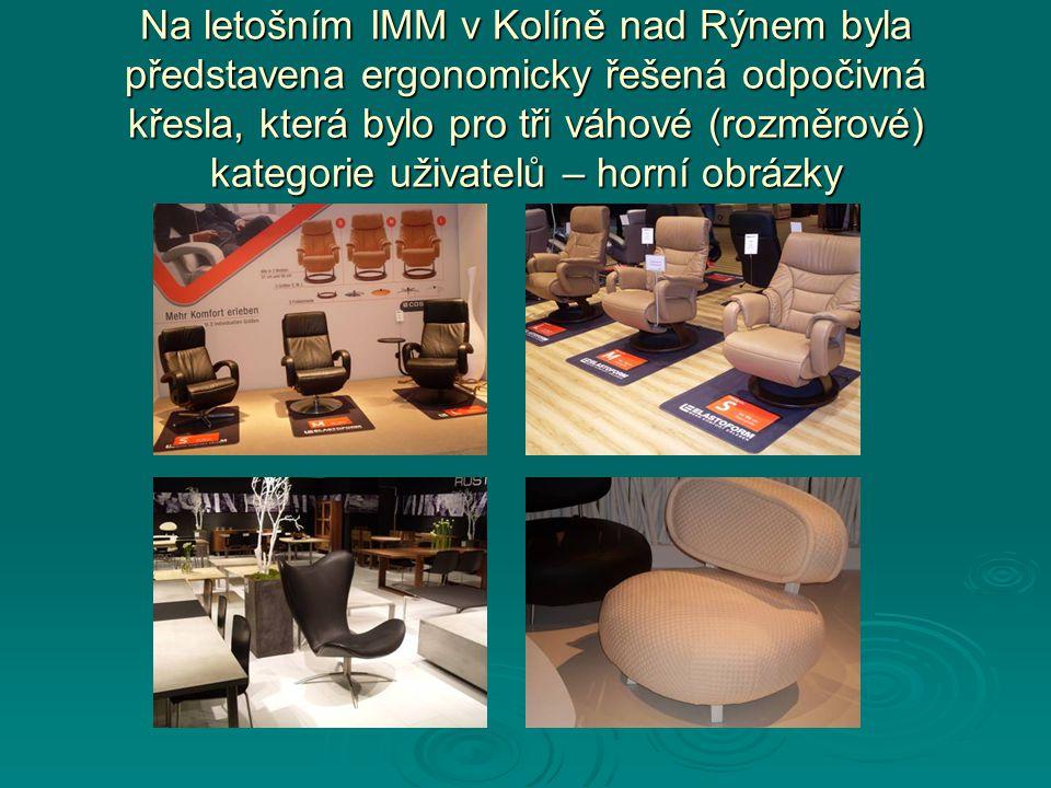 Na letošním IMM v Kolíně nad Rýnem byla představena ergonomicky řešená odpočivná křesla, která bylo pro tři váhové (rozměrové) kategorie uživatelů – h