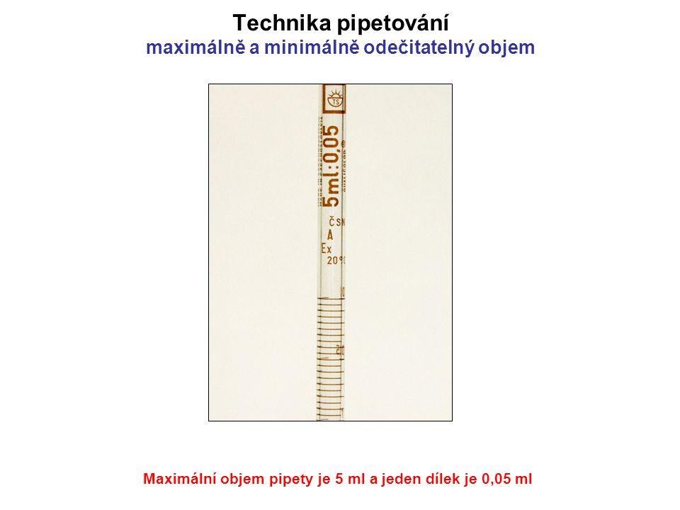 Maximální objem pipety je 5 ml a jeden dílek je dvacetina ml (0,05 ml) Technika pipetování maximálně a minimálně odečitatelný objem