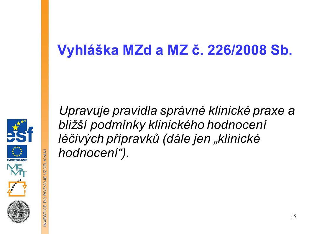 """Vyhláška MZd a MZ č. 226/2008 Sb. Upravuje pravidla správné klinické praxe a bližší podmínky klinického hodnocení léčivých přípravků (dále jen """"klinic"""