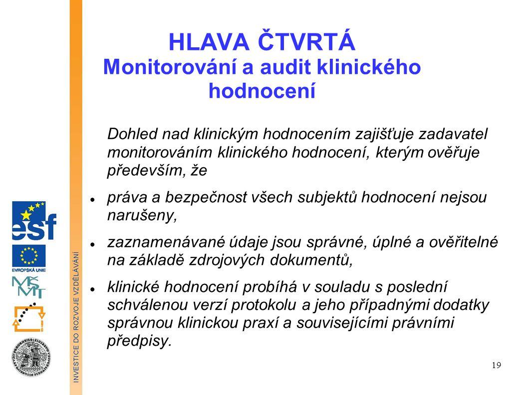 HLAVA ČTVRTÁ Monitorování a audit klinického hodnocení Dohled nad klinickým hodnocením zajišťuje zadavatel monitorováním klinického hodnocení, kterým