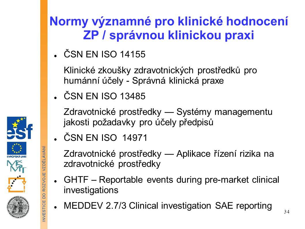 Normy významné pro klinické hodnocení ZP / správnou klinickou praxi ČSN EN ISO 14155 Klinické zkoušky zdravotnických prostředků pro humánní účely - Sp