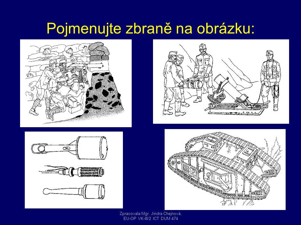 Pojmenujte zbraně na obrázku: Zpracovala Mgr. Jindra Chejnová, EU-OP VK-III/2 ICT DUM 474