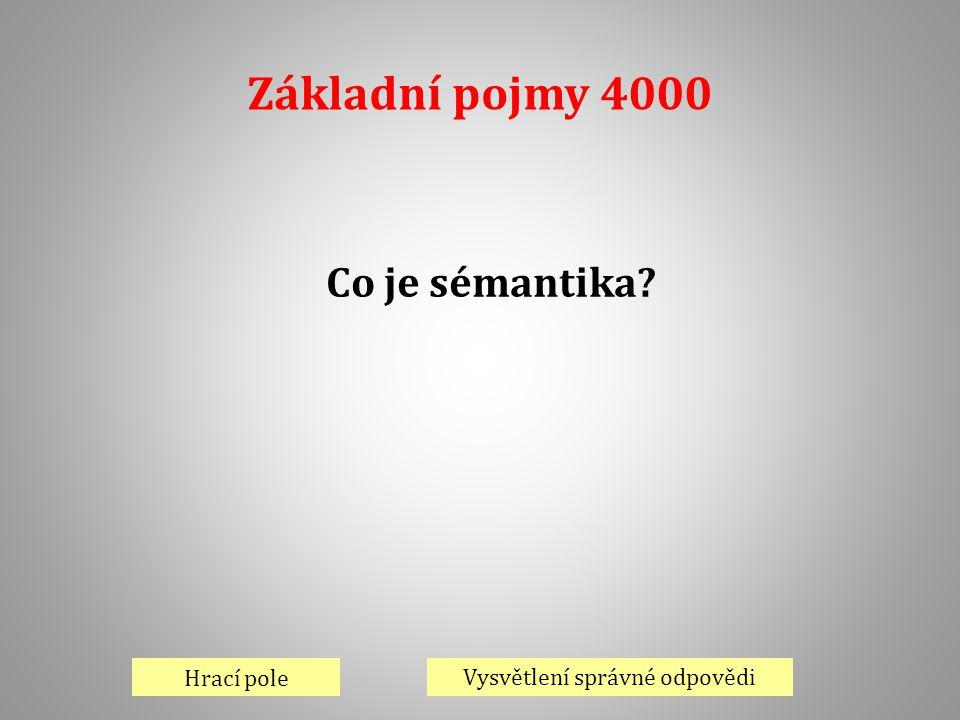 Základní pojmy 4000 Hrací pole Vysvětlení správné odpovědi Co je sémantika?