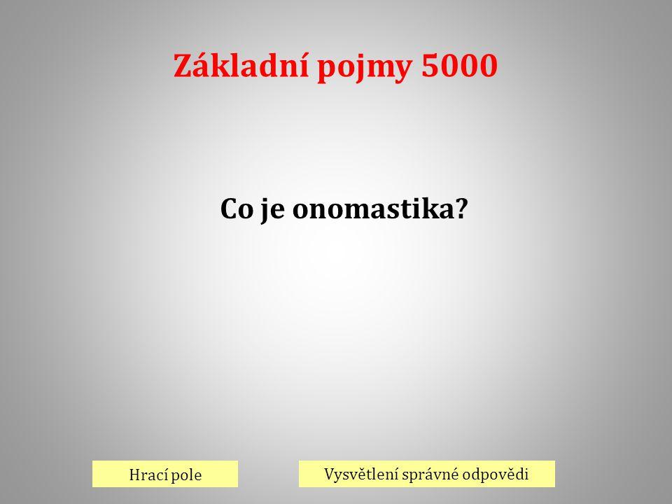 Základní pojmy 5000 Hrací pole Vysvětlení správné odpovědi Co je onomastika?