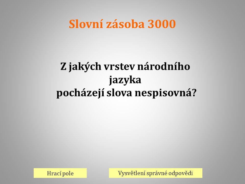 Slovní zásoba 3000 Hrací pole Vysvětlení správné odpovědi Z jakých vrstev národního jazyka pocházejí slova nespisovná?