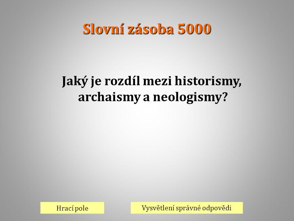 Slovní zásoba 5000 Hrací pole Vysvětlení správné odpovědi Jaký je rozdíl mezi historismy, archaismy a neologismy?